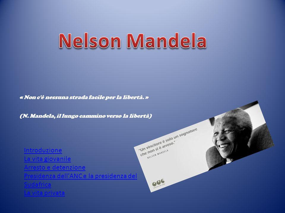 « Non c'è nessuna strada facile per la libertà. » (N. Mandela, il lungo cammino verso la libertà) Introduzione La vita giovanile Arresto e detenzione