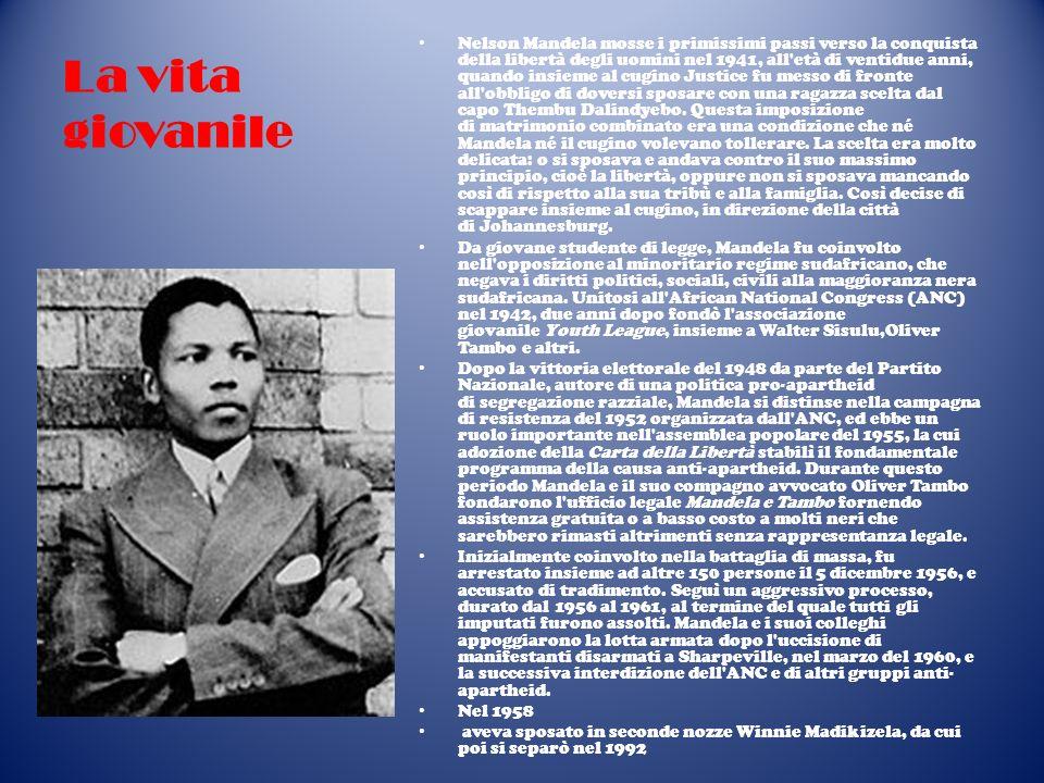 La vita giovanile Nelson Mandela mosse i primissimi passi verso la conquista della libertà degli uomini nel 1941, all'età di ventidue anni, quando ins