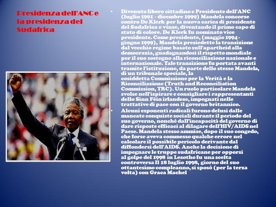 Presidenza dell'ANC e la presidenza del Sudafrica Divenuto libero cittadino e Presidente dell'ANC (luglio 1991 - dicembre 1999) Mandela concorse contr