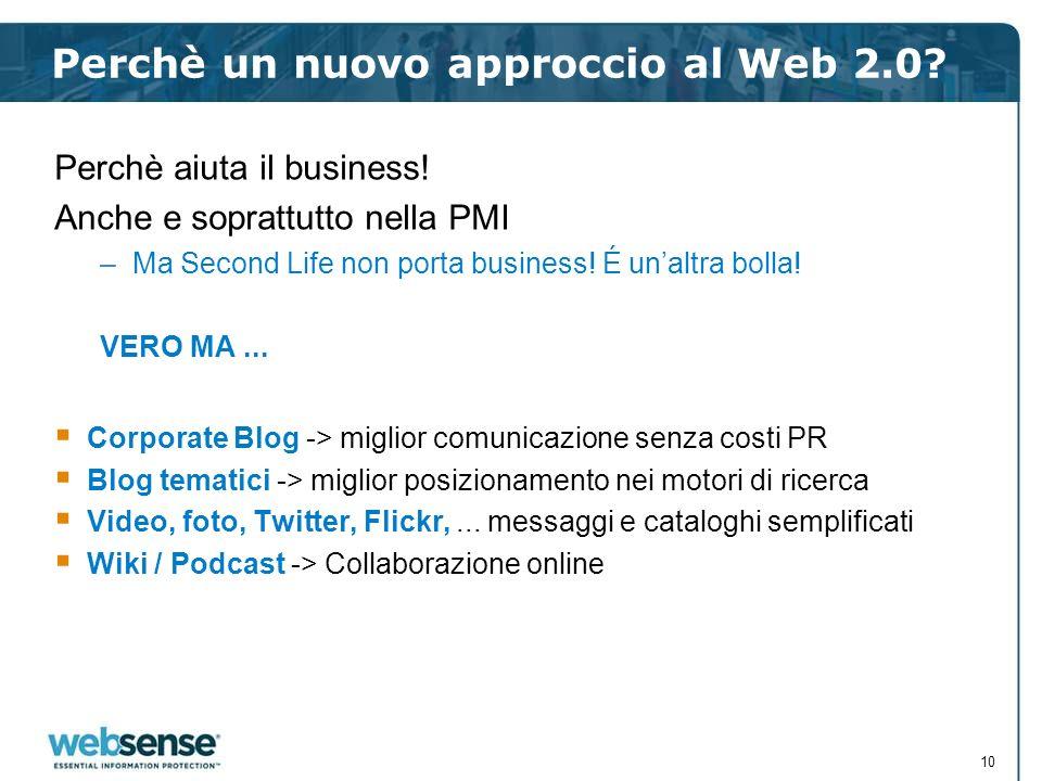 Perchè un nuovo approccio al Web 2.0? Perchè aiuta il business! Anche e soprattutto nella PMI –Ma Second Life non porta business! É unaltra bolla! VER