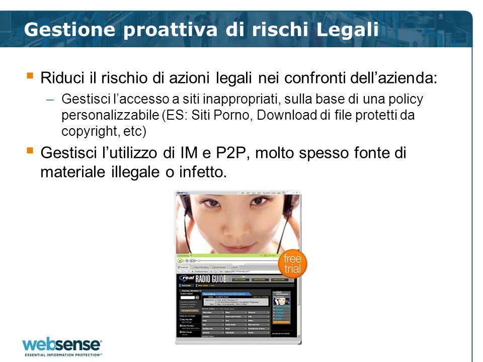 Gestione proattiva di rischi Legali Riduci il rischio di azioni legali nei confronti dellazienda: –Gestisci laccesso a siti inappropriati, sulla base