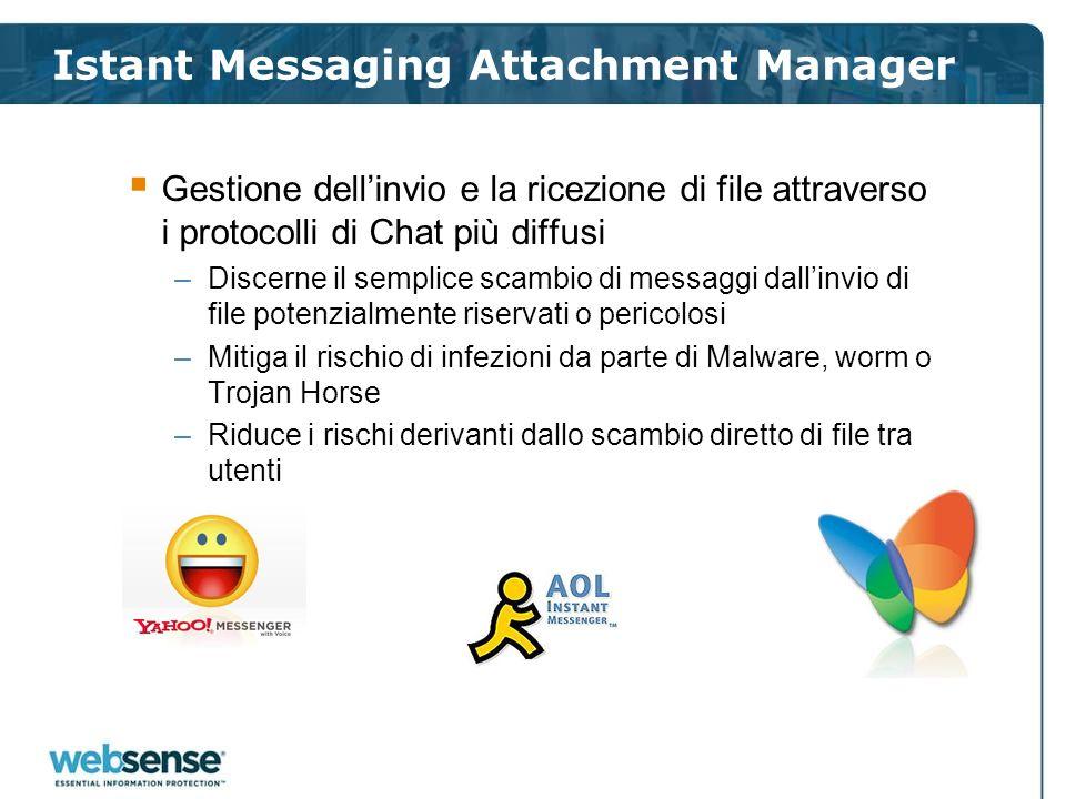 Istant Messaging Attachment Manager Gestione dellinvio e la ricezione di file attraverso i protocolli di Chat più diffusi –Discerne il semplice scambi