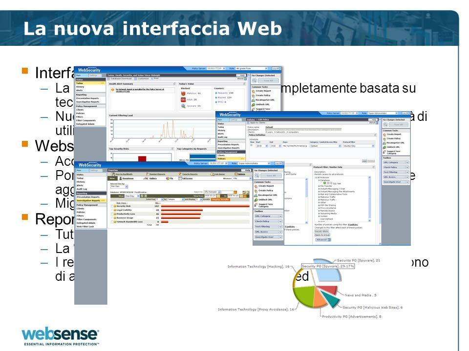 La nuova interfaccia Web Interfaccia WebUI unificata –La nuova interfaccia websense sarà completamente basata su tecnologia Web –Nuovi tool ed una ges