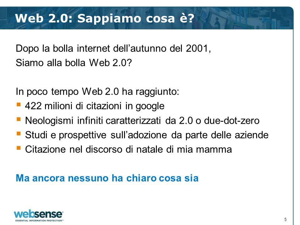 Web 2.0: Sappiamo cosa è? Dopo la bolla internet dellautunno del 2001, Siamo alla bolla Web 2.0? In poco tempo Web 2.0 ha raggiunto: 422 milioni di ci