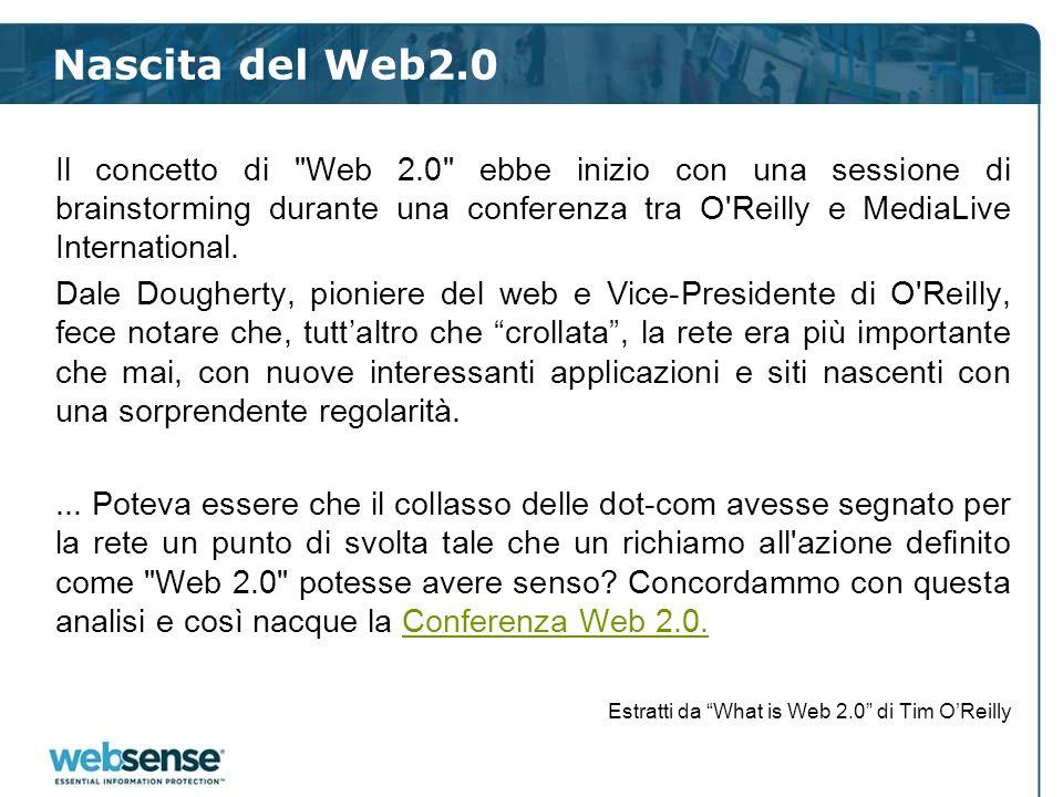 Il nuovo approccio al Web 2.0 37 Quando le informazioni essenziali sono protette si può dire alle nuove opportunità