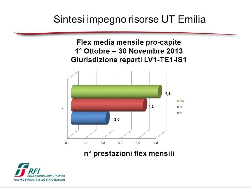 Flex media mensile pro-capite 1° Ottobre – 30 Novembre 2013 Giurisdizione reparti LV1-TE1-IS1 n° prestazioni flex mensili Sintesi impegno risorse UT Emilia