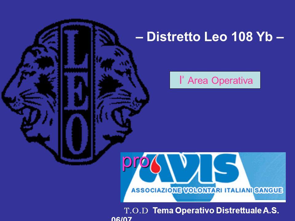 – Distretto Leo 108 Yb – I a Area Operativa T.O.D Tema Operativo Distrettuale A.S. 06/07 pro