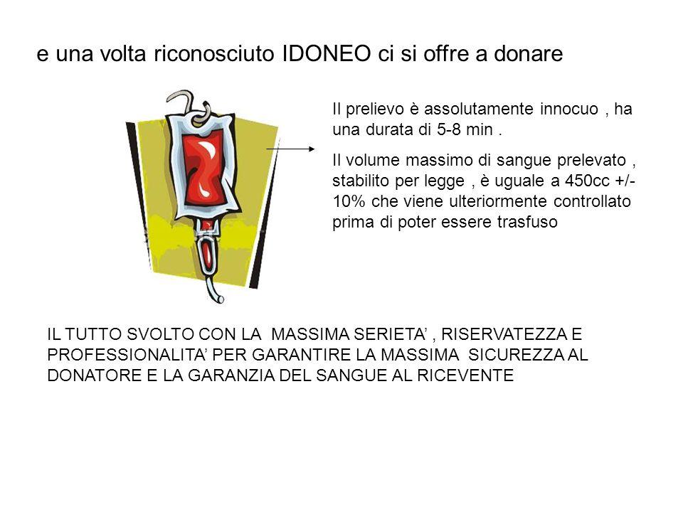 e una volta riconosciuto IDONEO ci si offre a donare Il prelievo è assolutamente innocuo, ha una durata di 5-8 min. Il volume massimo di sangue prelev