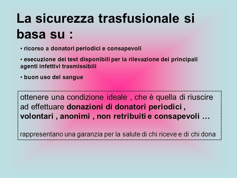 ottenere una condizione ideale, che è quella di riuscire ad effettuare donazioni di donatori periodici, volontari, anonimi, non retribuiti e consapevo