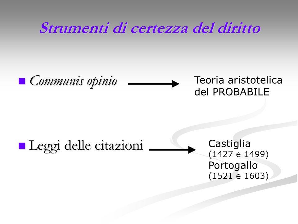 Strumenti di certezza del diritto Communis opinio Communis opinio Leggi delle citazioni Leggi delle citazioni Teoria aristotelica del PROBABILE Castig