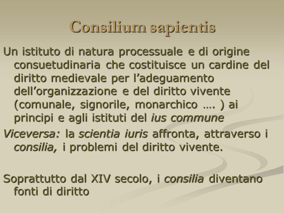 Consilium sapientis Un istituto di natura processuale e di origine consuetudinaria che costituisce un cardine del diritto medievale per ladeguamento d