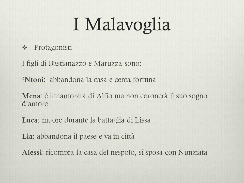I Malavoglia Protagonisti I figli di Bastianazzo e Maruzza sono: Ntoni : abbandona la casa e cerca fortuna Mena : è innamorata di Alfio ma non coroner