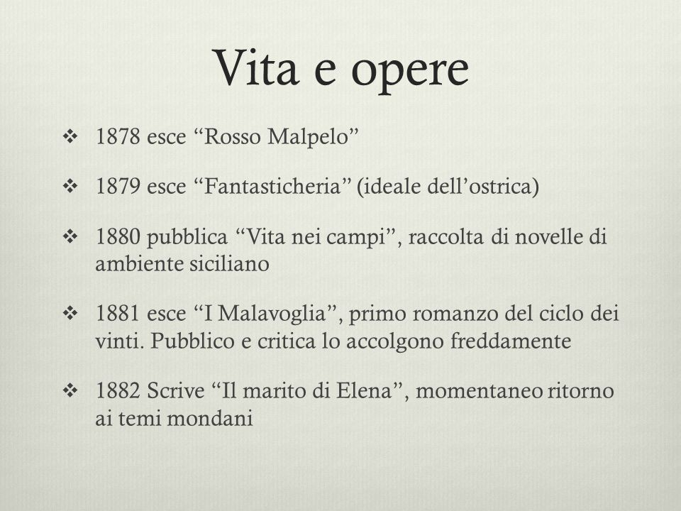 Vita e opere 1878 esce Rosso Malpelo 1879 esce Fantasticheria (ideale dellostrica) 1880 pubblica Vita nei campi, raccolta di novelle di ambiente sicil