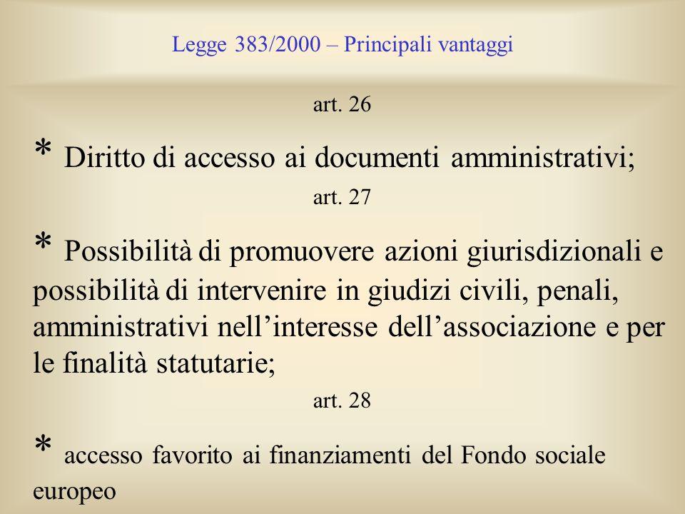 Legge 383/2000 – Principali vantaggi art. 26 * Diritto di accesso ai documenti amministrativi; art. 27 * Possibilità di promuovere azioni giurisdizion