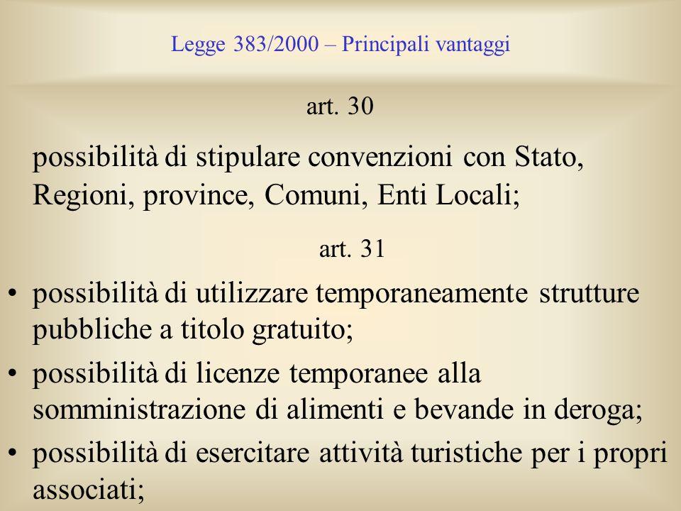 Legge 383/2000 – Principali vantaggi art. 30 possibilità di stipulare convenzioni con Stato, Regioni, province, Comuni, Enti Locali; art. 31 possibili