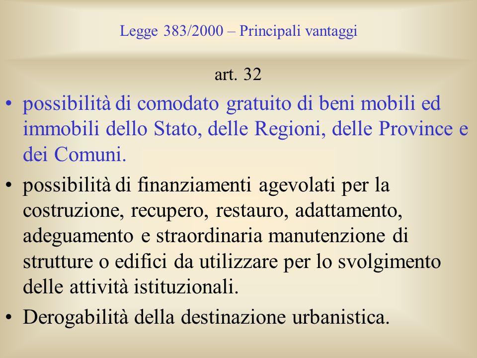 Legge 383/2000 – Principali vantaggi art. 32 possibilità di comodato gratuito di beni mobili ed immobili dello Stato, delle Regioni, delle Province e