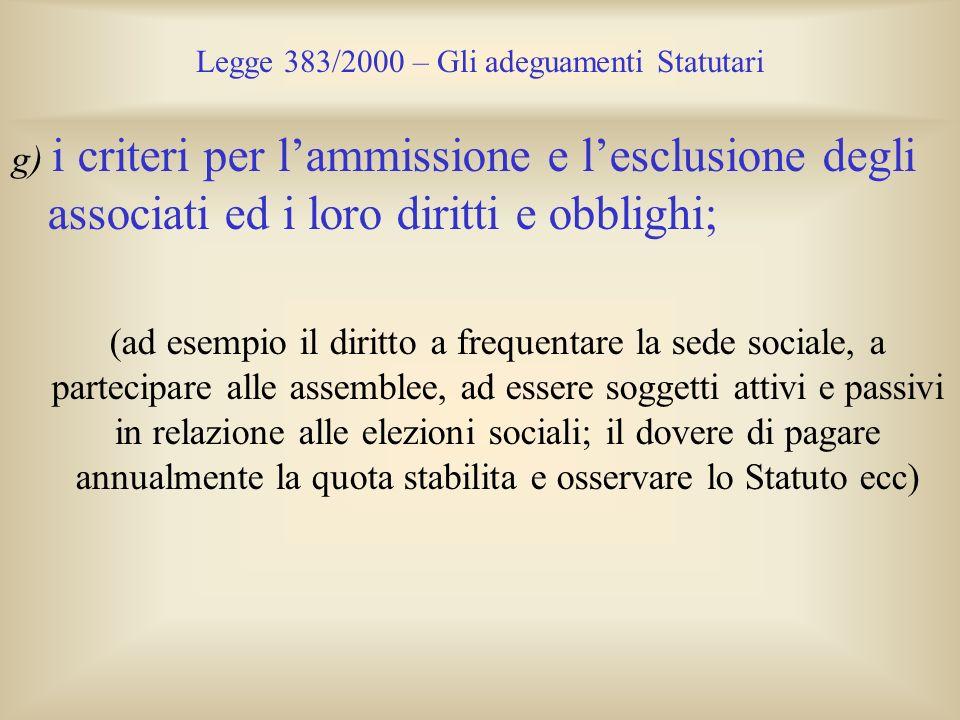 Legge 383/2000 – Gli adeguamenti Statutari g) i criteri per lammissione e lesclusione degli associati ed i loro diritti e obblighi; (ad esempio il dir