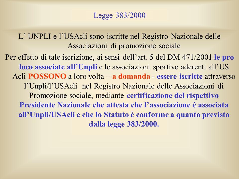 Legge 383/2000 L UNPLI e lUSAcli sono iscritte nel Registro Nazionale delle Associazioni di promozione sociale Per effetto di tale iscrizione, ai sens