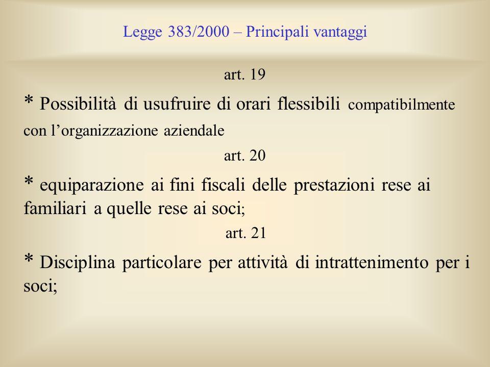 Legge 383/2000 – Principali vantaggi art. 19 * Possibilità di usufruire di orari flessibili compatibilmente con lorganizzazione aziendale art. 20 * eq