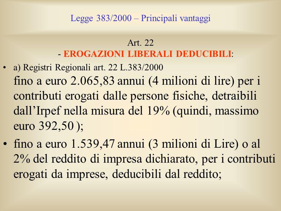 Legge 383/2000 – Principali vantaggi Art. 22 - EROGAZIONI LIBERALI DEDUCIBILI: a) Registri Regionali art. 22 L.383/2000 fino a euro 2.065,83 annui (4