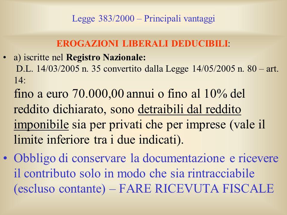 Legge 383/2000 – Principali vantaggi EROGAZIONI LIBERALI DEDUCIBILI: a) iscritte nel Registro Nazionale: D.L. 14/03/2005 n. 35 convertito dalla Legge