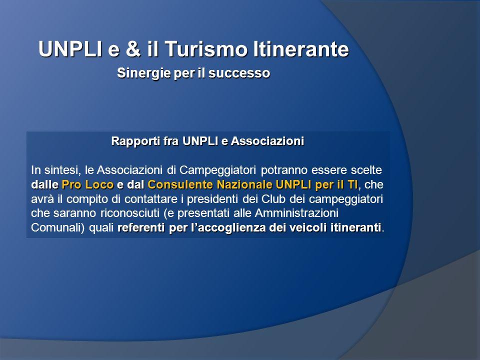 UNPLI e & il Turismo Itinerante Sinergie per il successo Rapporti fra UNPLI e Associazioni dalle Pro Loco e dal Consulente Nazionale UNPLI per il TI r