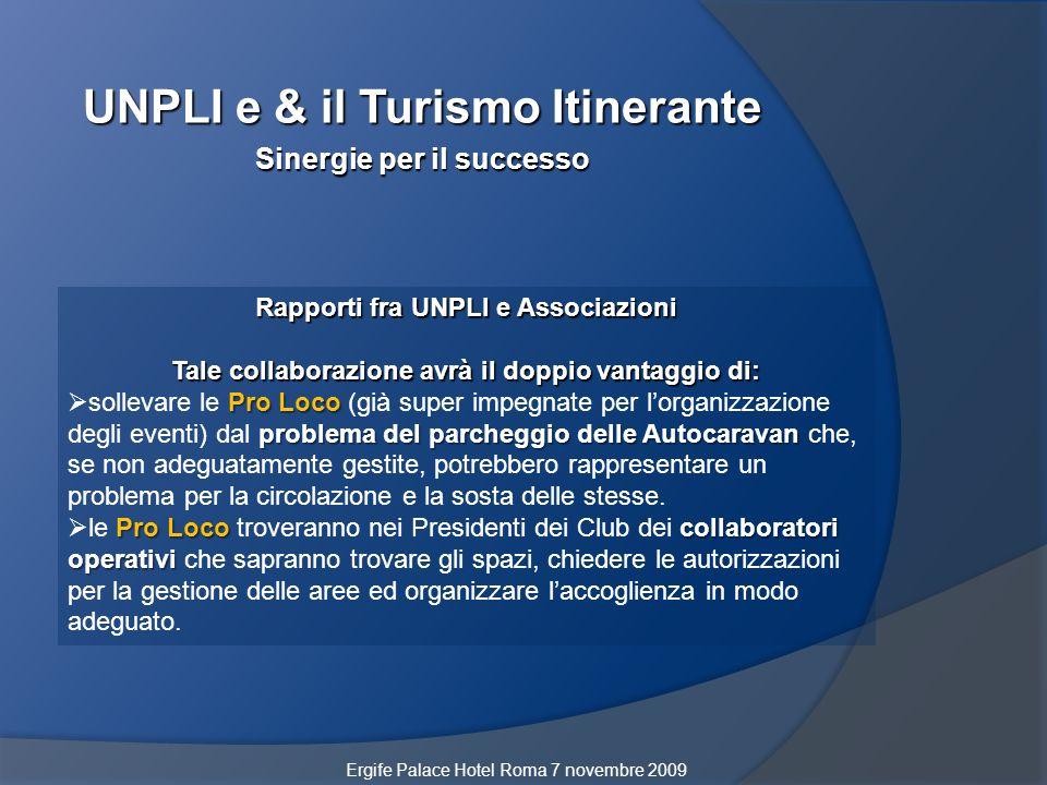 UNPLI e & il Turismo Itinerante Sinergie per il successo Rapporti fra UNPLI e Associazioni Tale collaborazione avrà il doppio vantaggio di: Pro Loco p