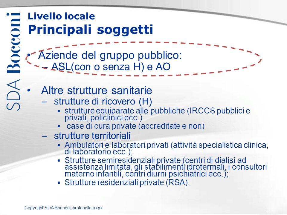 Copyright SDA Bocconi, protocollo xxxx Livello locale Principali soggetti Aziende del gruppo pubblico: –ASL(con o senza H) e AO Altre strutture sanita