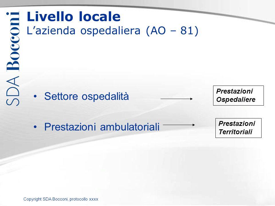 Copyright SDA Bocconi, protocollo xxxx Livello locale Lazienda ospedaliera (AO – 81) Settore ospedalità Prestazioni ambulatoriali Prestazioni Ospedali