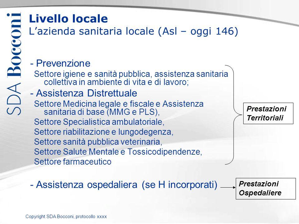 Copyright SDA Bocconi, protocollo xxxx Livello locale Lazienda sanitaria locale (Asl – oggi 146) - Prevenzione Settore igiene e sanità pubblica, assis