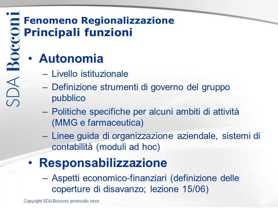 Copyright SDA Bocconi, protocollo xxxx Fenomeno Regionalizzazione Principali funzioni Autonomia –Livello istituzionale –Definizione strumenti di gover