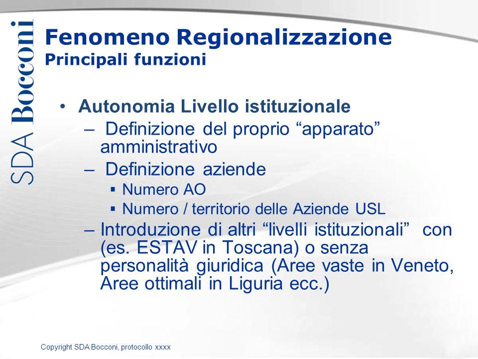 Copyright SDA Bocconi, protocollo xxxx Fenomeno Regionalizzazione Principali funzioni Autonomia Livello istituzionale – Definizione del proprio appara