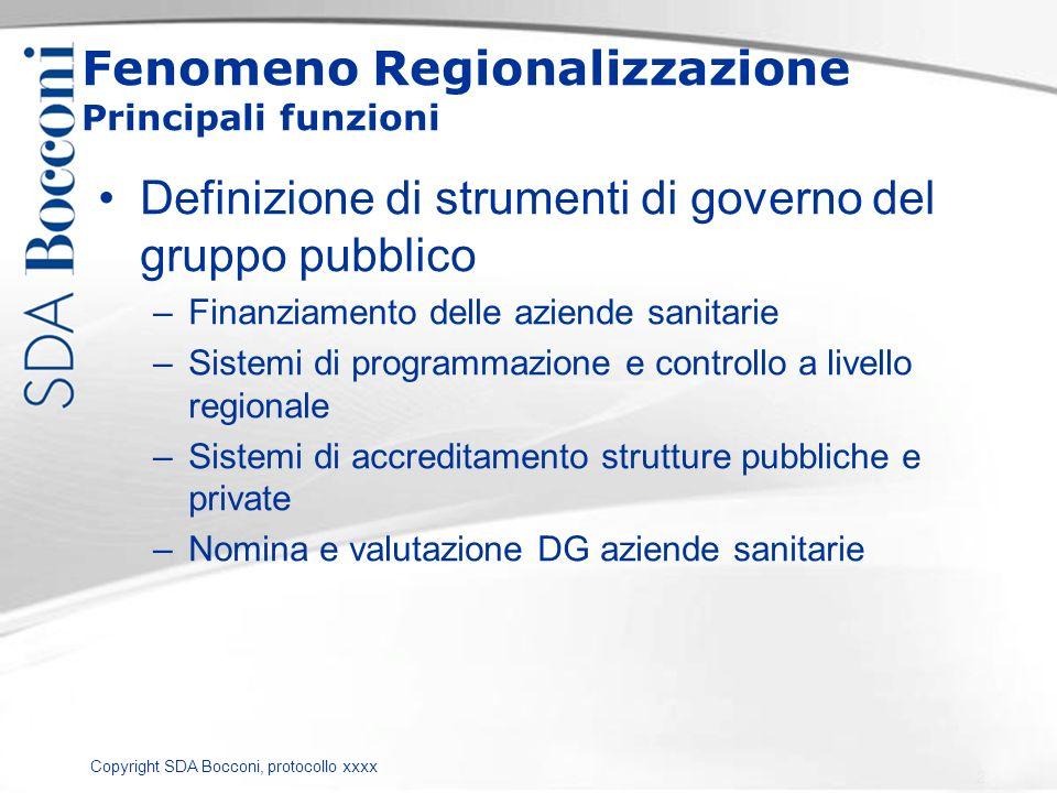 Copyright SDA Bocconi, protocollo xxxx Fenomeno Regionalizzazione Principali funzioni Definizione di strumenti di governo del gruppo pubblico –Finanzi