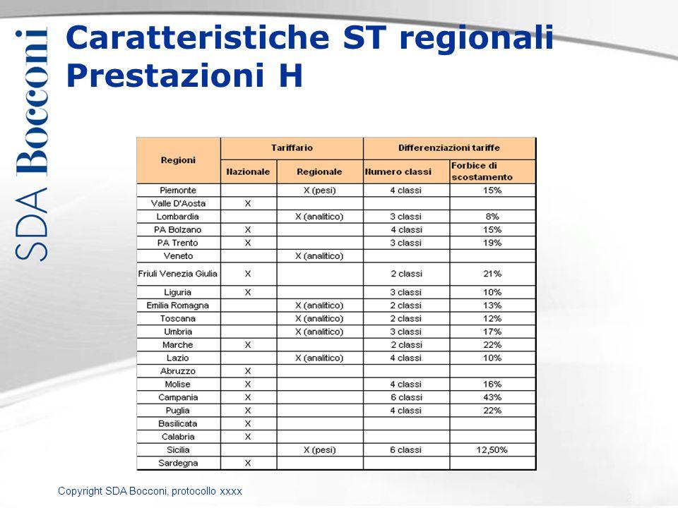Copyright SDA Bocconi, protocollo xxxx Caratteristiche ST regionali Prestazioni H