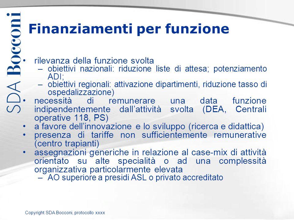 Copyright SDA Bocconi, protocollo xxxx Finanziamenti per funzione rilevanza della funzione svolta –obiettivi nazionali: riduzione liste di attesa; pot