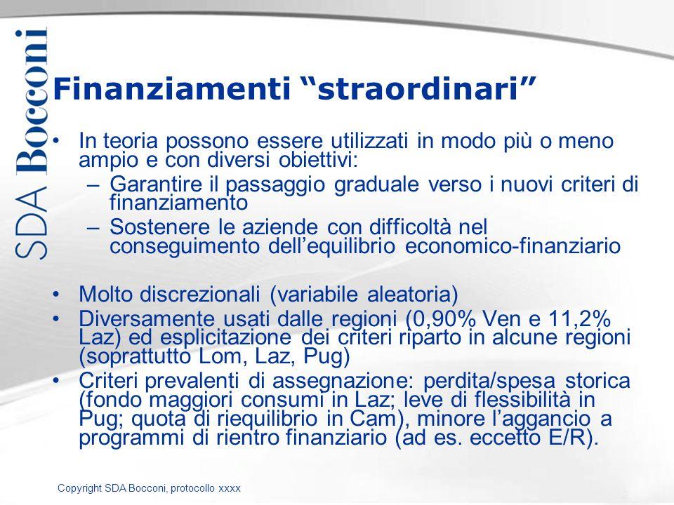 Copyright SDA Bocconi, protocollo xxxx Finanziamenti straordinari In teoria possono essere utilizzati in modo più o meno ampio e con diversi obiettivi