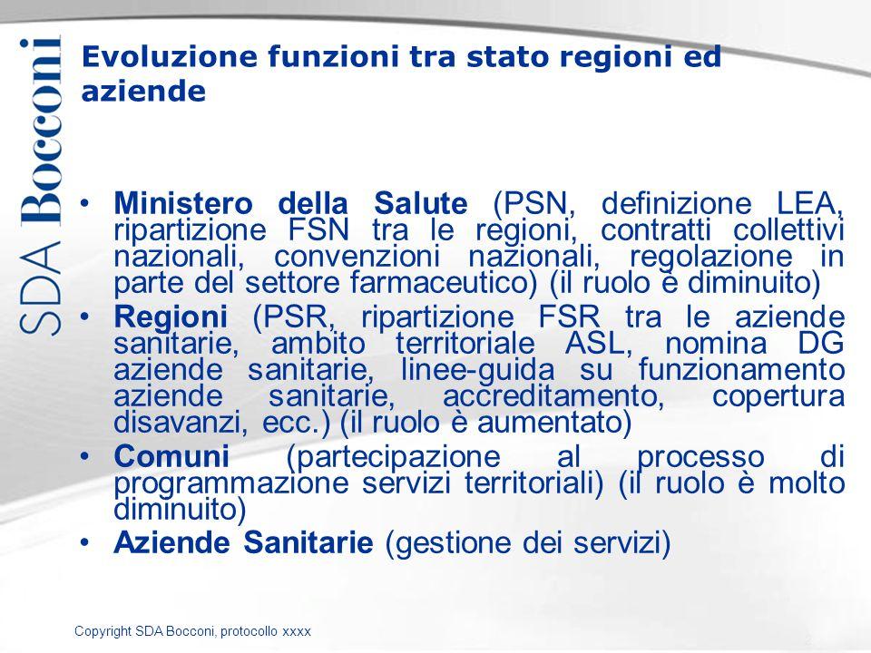 Copyright SDA Bocconi, protocollo xxxx Evoluzione funzioni tra stato regioni ed aziende Ministero della Salute (PSN, definizione LEA, ripartizione FSN
