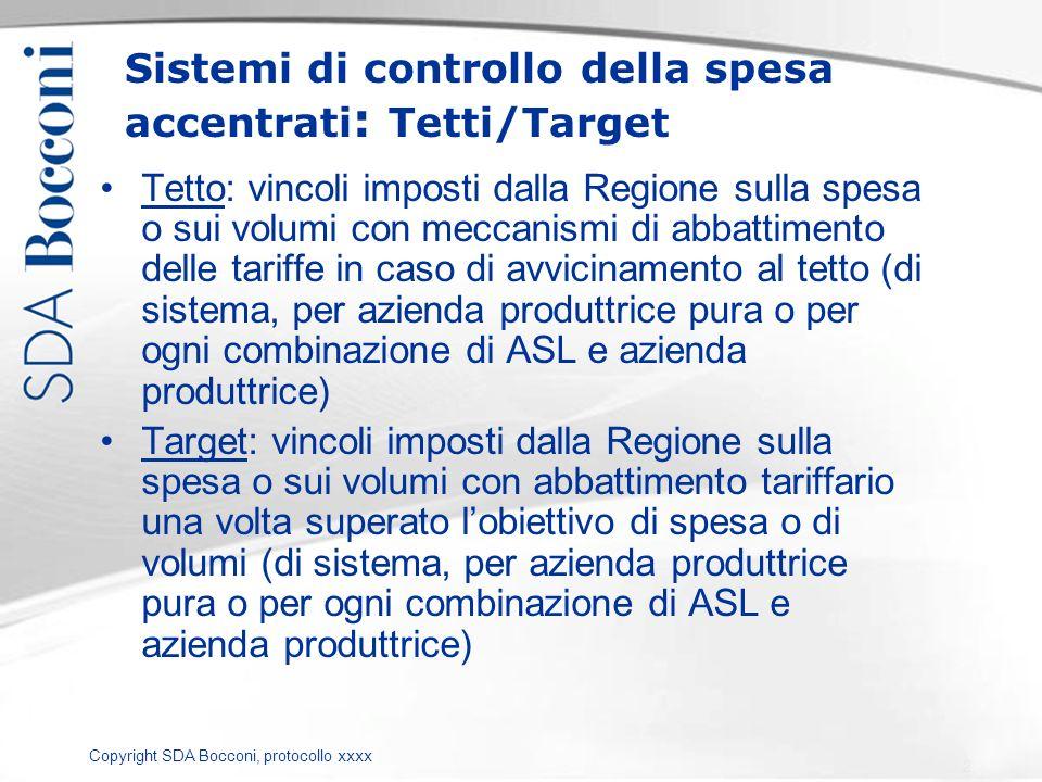 Copyright SDA Bocconi, protocollo xxxx Sistemi di controllo della spesa accentrati : Tetti/Target Tetto: vincoli imposti dalla Regione sulla spesa o s