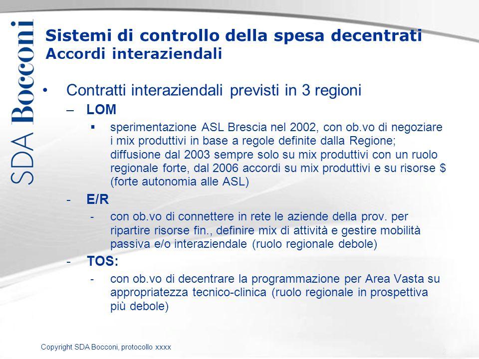 Copyright SDA Bocconi, protocollo xxxx Sistemi di controllo della spesa decentrati Accordi interaziendali Contratti interaziendali previsti in 3 regio