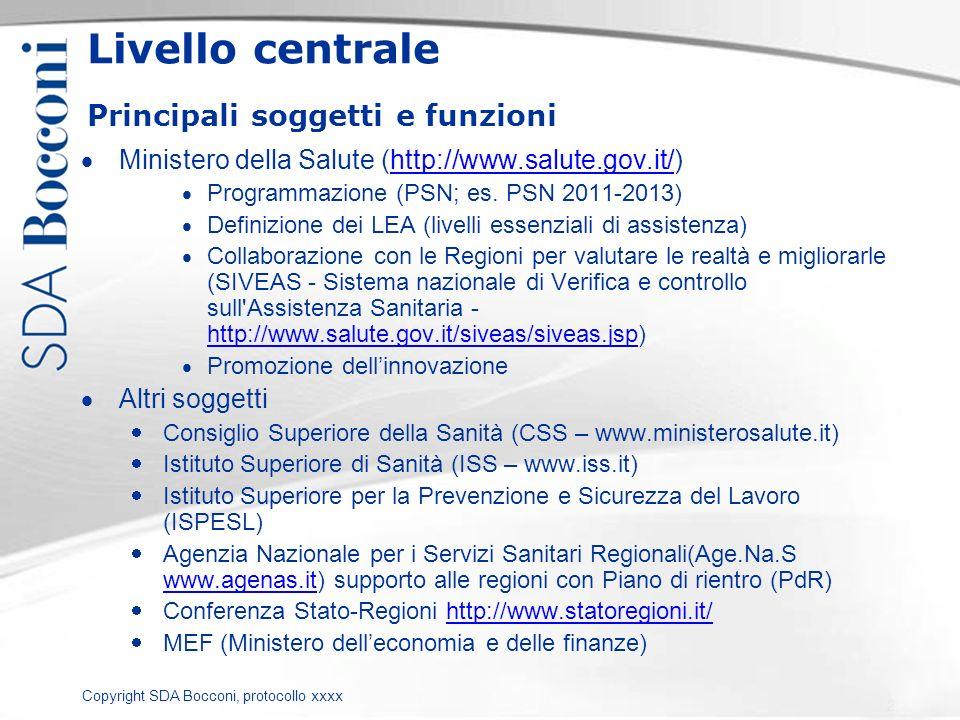 Copyright SDA Bocconi, protocollo xxxx 87 DURATA MEDIA REGIONALE = Turnover DG (1996-2010): durata media in carica DURATA MEDIA AZIENDALE = Un DG rimane mediamente in carica 3,8 (rispetto a 3,71 dello scorso anno) AO più stabili di ASL con 1Num- Anni14 RegioneAOASLMedia complessiva Abruzzo 3,8 Alto Adige (Bolzano) 9,3 Basilicata 3,0 3,4 3,3 Calabria 2,3 1,5 1,7 Campania 4,8 3,3 3,9 Emilia Romagna 5,5 4,1 4,5 Friuli Venezia Giulia 3,3 3,5 3,4 Lazio 3,3 2,9 3,0 Liguria 4,9 3,2 3,8 Lombardia 4,6 4,3 4,5 Marche 3,6 3,0 3,2 Molise 4,1 Piemonte 3,5 3,6 Puglia 4,1 2,9 3,3 Sardegna 3,0 2,6 Sicilia 3,6 2,8 3,3 Toscana 3,8 4,1 4,0 Trento 5,0 Umbria 3,8 2,6 2,9 Valle D Aosta 3,8 Veneto 4,8 Totale* 4,1 3,6 3,8 Fonte: OASI (2010)
