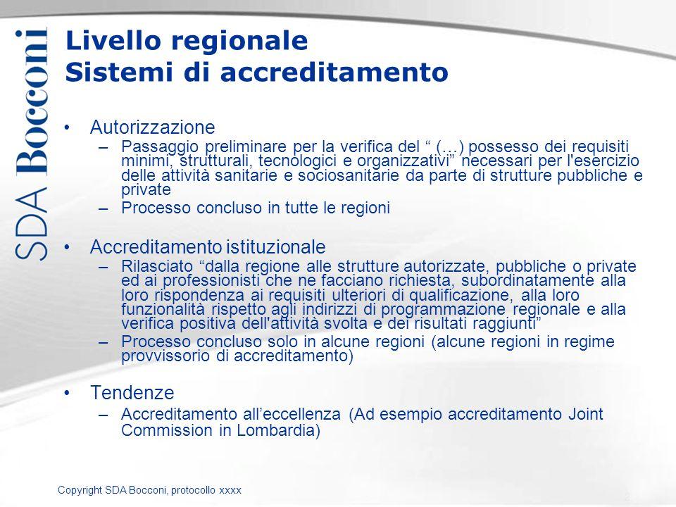 Copyright SDA Bocconi, protocollo xxxx Livello regionale Sistemi di accreditamento Autorizzazione –Passaggio preliminare per la verifica del (…) posse