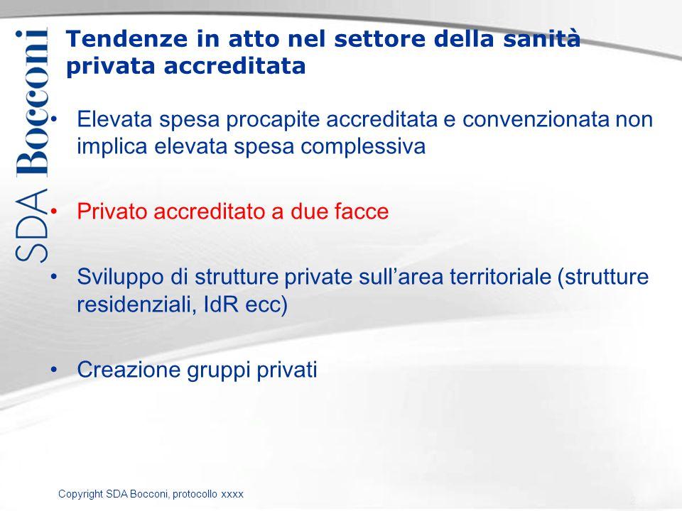 Copyright SDA Bocconi, protocollo xxxx Tendenze in atto nel settore della sanità privata accreditata Elevata spesa procapite accreditata e convenziona