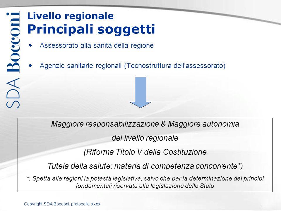 Copyright SDA Bocconi, protocollo xxxx Livello regionale Principali soggetti Assessorato alla sanità della regione Agenzie sanitarie regionali (Tecnos