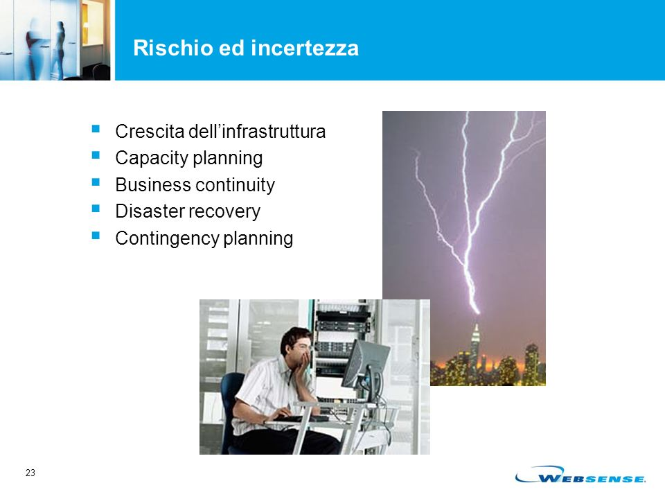 23 Rischio ed incertezza Crescita dellinfrastruttura Capacity planning Business continuity Disaster recovery Contingency planning