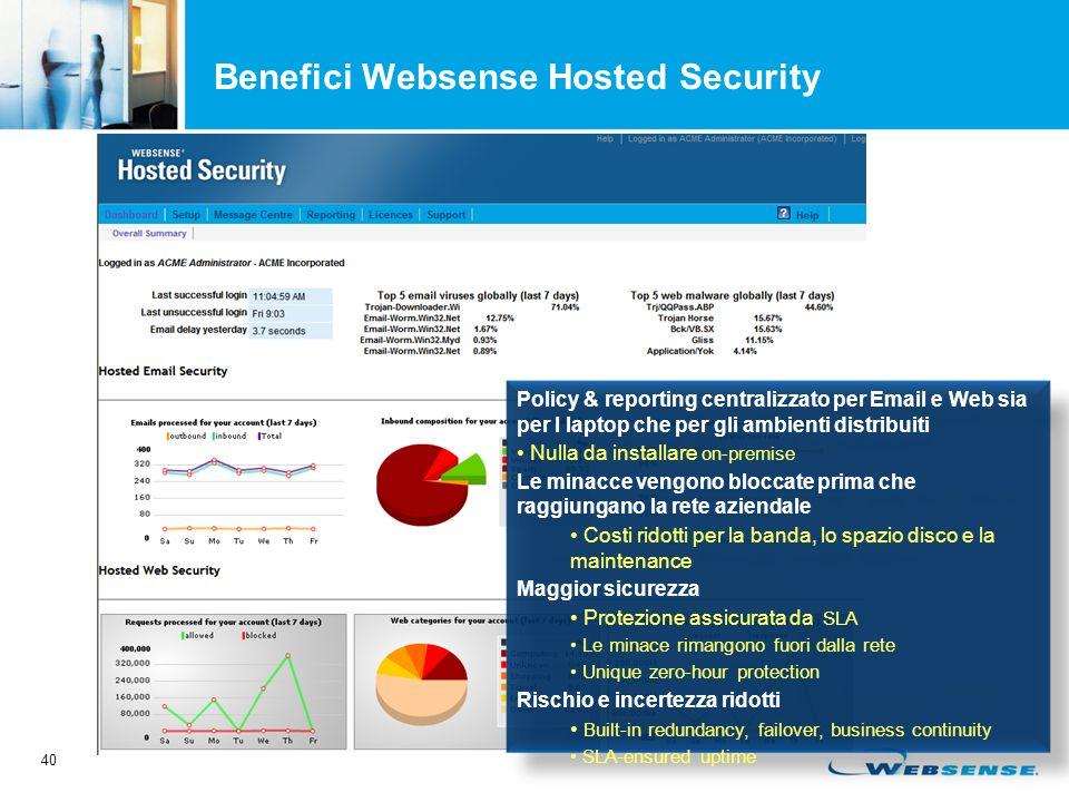 40 Benefici Websense Hosted Security Policy & reporting centralizzato per Email e Web sia per I laptop che per gli ambienti distribuiti Nulla da installare on-premise Le minacce vengono bloccate prima che raggiungano la rete aziendale Costi ridotti per la banda, lo spazio disco e la maintenance Maggior sicurezza Protezione assicurata da SLA Le minace rimangono fuori dalla rete Unique zero-hour protection Rischio e incertezza ridotti Built-in redundancy, failover, business continuity SLA-ensured uptime