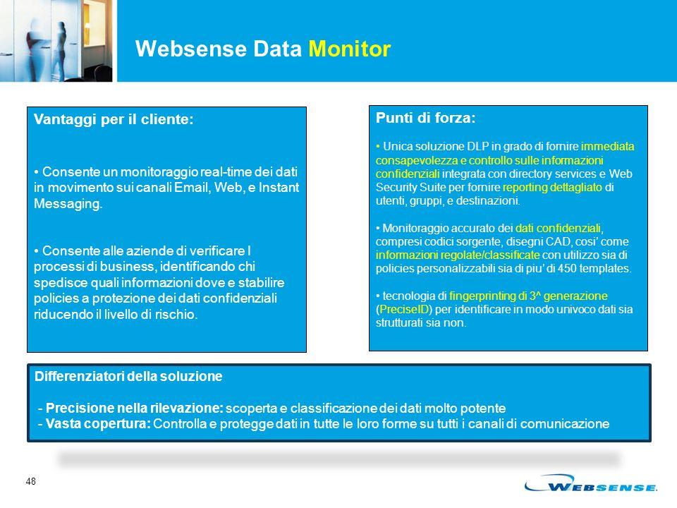 48 Websense Data Monitor Differenziatori della soluzione - Precisione nella rilevazione: scoperta e classificazione dei dati molto potente - Vasta copertura: Controlla e protegge dati in tutte le loro forme su tutti i canali di comunicazione Vantaggi per il cliente: Consente un monitoraggio real-time dei dati in movimento sui canali Email, Web, e Instant Messaging.