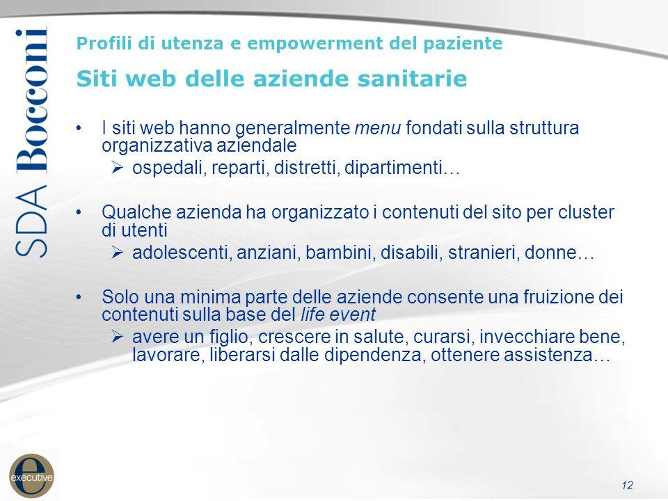 12 Profili di utenza e empowerment del paziente Siti web delle aziende sanitarie I siti web hanno generalmente menu fondati sulla struttura organizzat