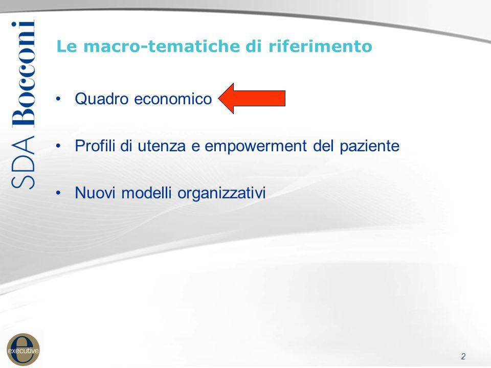 2 Le macro-tematiche di riferimento Quadro economico Profili di utenza e empowerment del paziente Nuovi modelli organizzativi