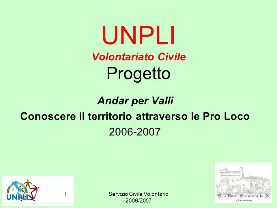Servizio Civile Volontario 2006/2007 1 UNPLI Volontariato Civile Progetto Andar per Valli Conoscere il territorio attraverso le Pro Loco 2006-2007