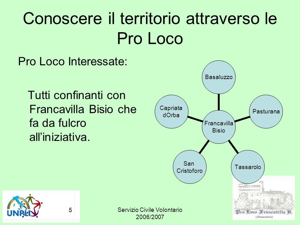 Servizio Civile Volontario 2006/2007 5 Conoscere il territorio attraverso le Pro Loco Pro Loco Interessate: Tutti confinanti con Francavilla Bisio che
